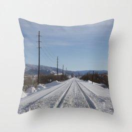 Carol M. Highsmith - Snow Covered Railroad Tracks Throw Pillow