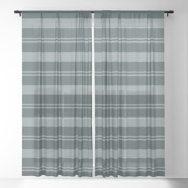 Scarborough Green PPG1145-5 Thick and Thin Horizontal Stripes on Night Watch PPG1145-7 Sheer Curtain