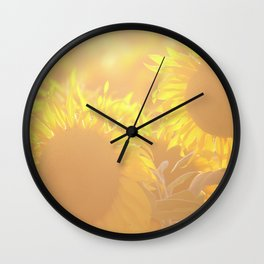 Glowing in Sunlight Sunflower Photography Wall Clock