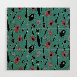 Mid-Century Modern Art Atomic Cats 1.3 Teal Pattern Wood Wall Art