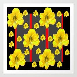 YELLOW AMARYLLIS BLACK-RED DECO ART Art Print