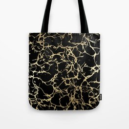Stylish black faux gold foil elegant marble Tote Bag