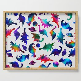 Rainbow Galaxy Watercolor Dinosaurs In Space Serving Tray