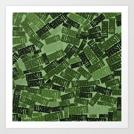 GANGSTA jungle camo / Green camouflage pattern with GANGSTA slogan Art Print