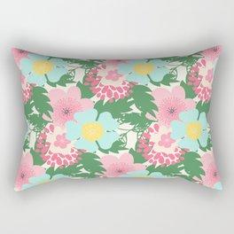 Modern pink teal green botanical tropical floral illustration Rectangular Pillow
