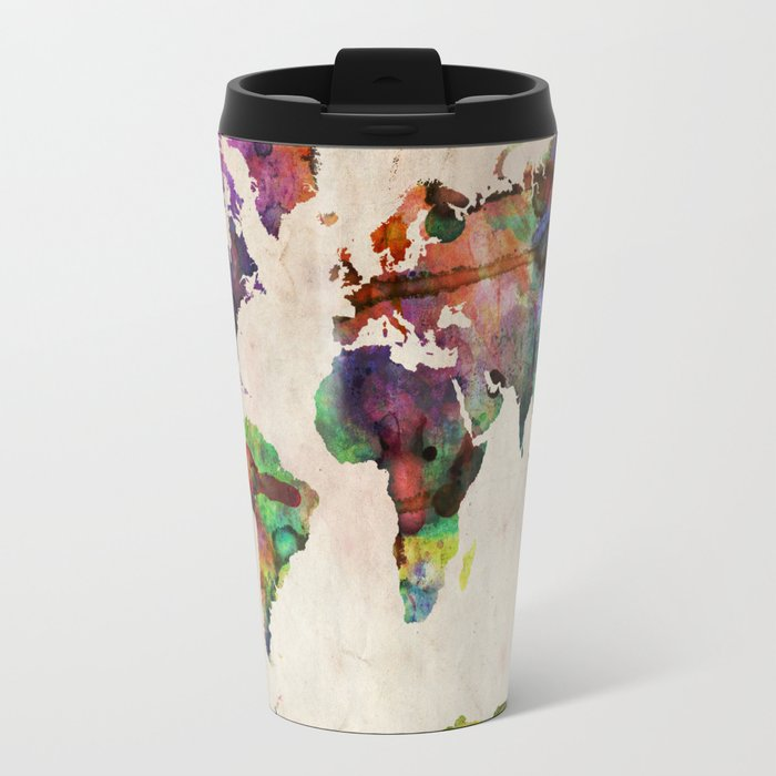 World map urban watercolor travel mug by artpause society6 world map urban watercolor travel mug gumiabroncs Image collections