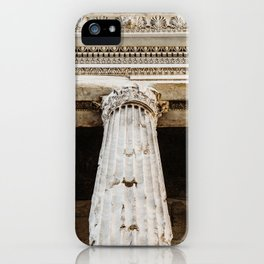 Detail of entablature and column from The Temple of Hadrian, in Rome, Italy. iPhone Case