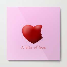 a bite of love (nibbled heart) pink Metal Print