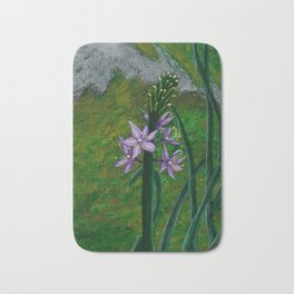 Asparagus Purple Flower painting Bath Mat