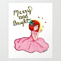 Merry and Bright Digital Holiday Girl Art Print
