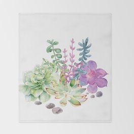 Succulents Throw Blanket