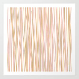 Vertical Lines in Blush and Gold Art Print