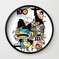 rio de janeiro Wall Clocks featuring RIO DE JANEIRO by Valter Brum