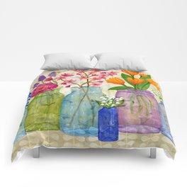 Springs Flowers in Old Jars Comforters
