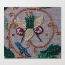 Elizabethan Embroidery Fantasy Flower Canvas Print