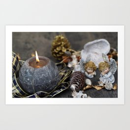 Christmas angels gray burning candle New Year Christmas decorations figurines of angles Art Print