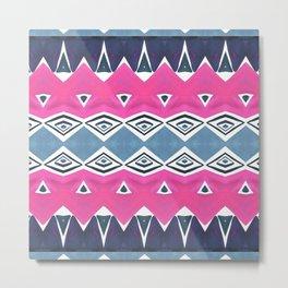 Geo Triangle Pink Navy 2 Metal Print