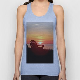 Chairs Sea and Sunset Unisex Tank Top