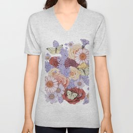 Roses, Lilacs, and Daisies Unisex V-Neck