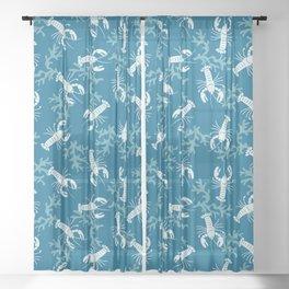Lobster Toss Blue Sheer Curtain