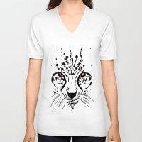 cheetah V-neck T-shirts featuring Cheetah by Danny
