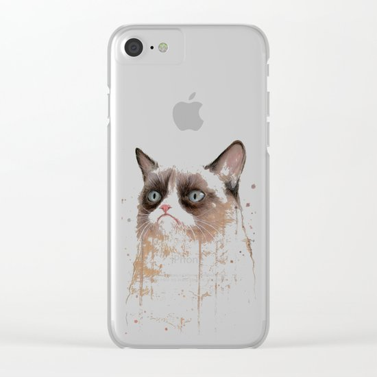 Grumpy Watercolor Cat II Clear iPhone Case