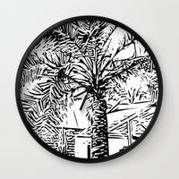 palm tree Wall Clocks featuring Palm tree by ArteGo