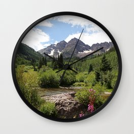Picture USA Maroon Bells Colorado Nature Streams Mountains Forests Shrubs brook Creek Stream Creeks mountain forest Bush Wall Clock