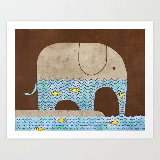 Thirsty Elephant - colour option Art Print