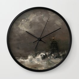 Lighthouse in Breaking Waves Vintage Painting Wall Clock