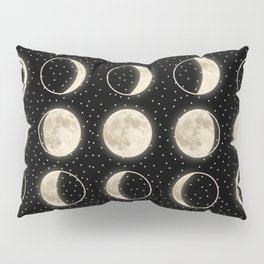shiny moon phases on black / with stars Pillow Sham