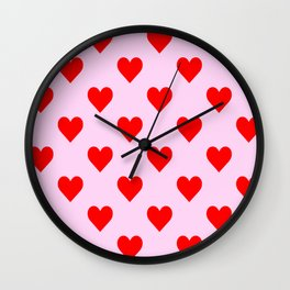 love heart pattern pink and red Wall Clock