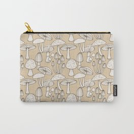 Mushrooms pattern in taupe Carry-All Pouch