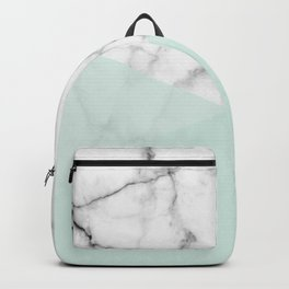 Real White Marble Half Mint Green Shapes Backpack