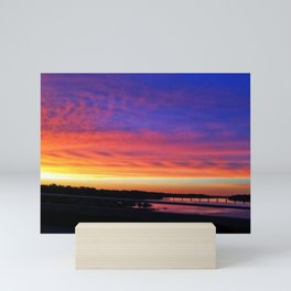 Colorful Severn River sunset over bridge | Annapolis, MD Mini Art Print