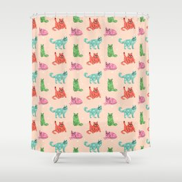 Cute Lazy Cats Shower Curtain