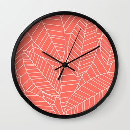 Coral Tropical Palm Leaves Pattern Wall Clock