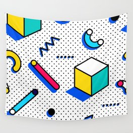 Patern in memphis, pop art style Wall Tapestry