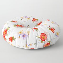 RED FLORAL Floor Pillow