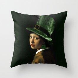 Girl With A Shamrock Earring Throw Pillow