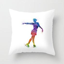 Ice Skating Girl 3 Colorful Watercolor Artwork Throw Pillow