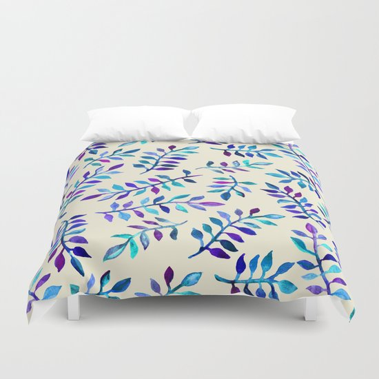 Hand Painted Purple & Aqua Leaf Pattern on Cream Duvet Cover