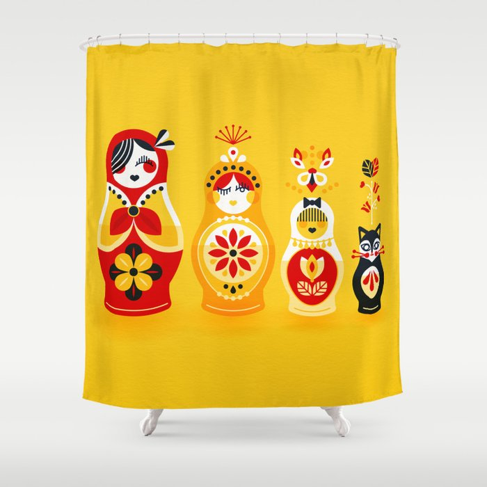 Russian Nesting Dolls Yellow Red Shower Curtain