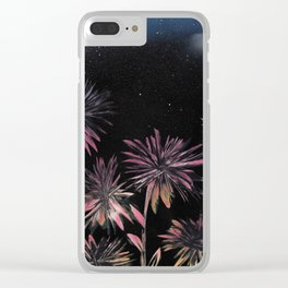 Night Blooming Flowers - Spray Paint Art Clear iPhone Case