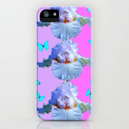 LILAC-PURPLE BLUE BUTTERFLIES MODERN ART iPhone Case