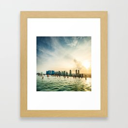 infinity pool on marina bay sands in singapore Framed Art Print
