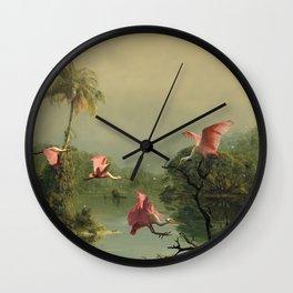 Spoonbills in the Mist Wall Clock