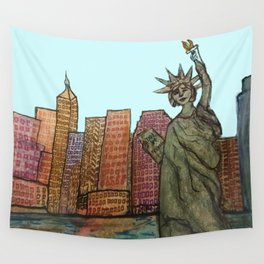 Lady Liberty Rising Urban Landscape NYC Skyline Wall Tapestry