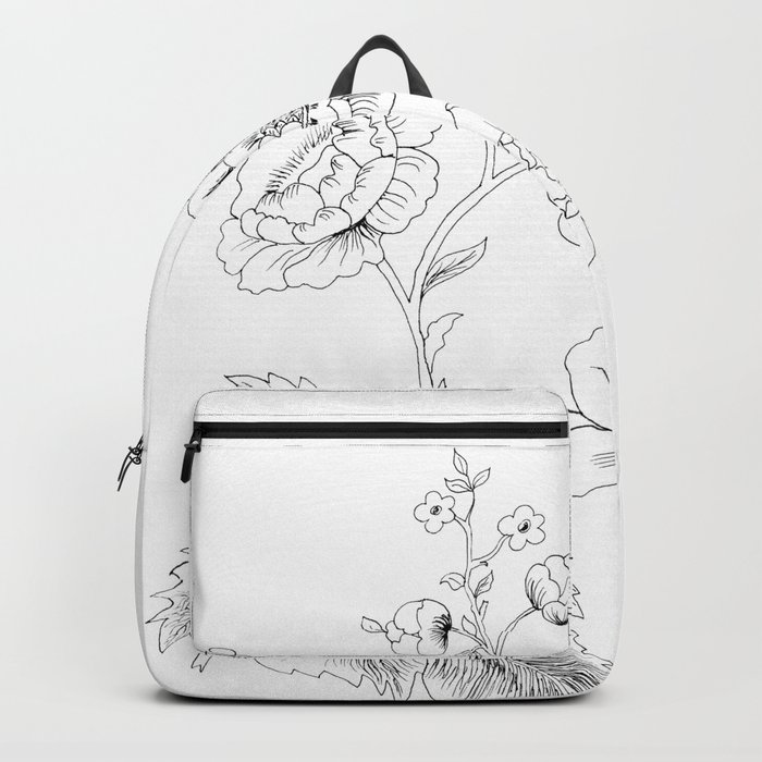 black-and-white arrangement of flowers and leaves Backpack