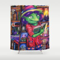 library Shower Curtains featuring The Library by Lucy Train